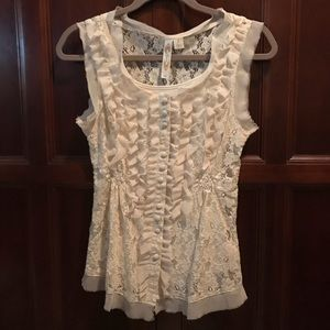 Button up lace shirt with cami.